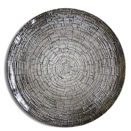 Bambeco Milano Porcelain Round Serving Platter in Grey Mosaic