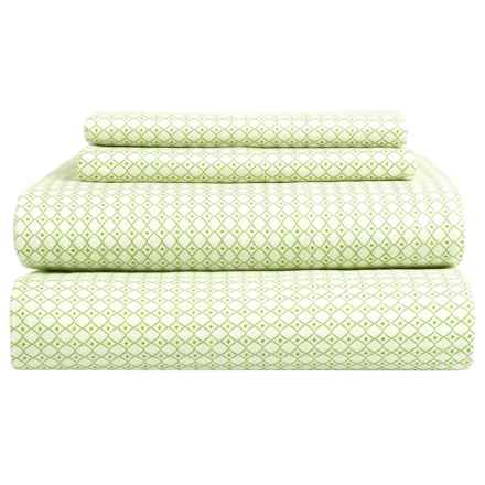 Bambeco Petite Diamond Sheet Set - King, Organic Cotton in Green - Closeouts