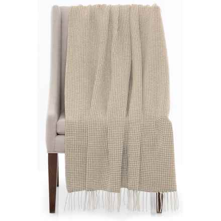 """Bambeco Piquet Print Wool Throw Blanket - 51x71"""" in Beige - Closeouts"""
