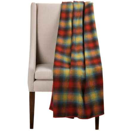 """Bambeco Plaid Wool Throw Blanket - 54x70"""" in Red/Navy - Closeouts"""