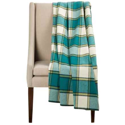 """Bambeco Plaid Wool Throw Blanket - 54x70"""" in Teal/Ivory - Closeouts"""