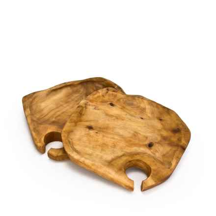 Bambeco Root Wood Appetizer Plates - Set of 2 in Natural - Closeouts