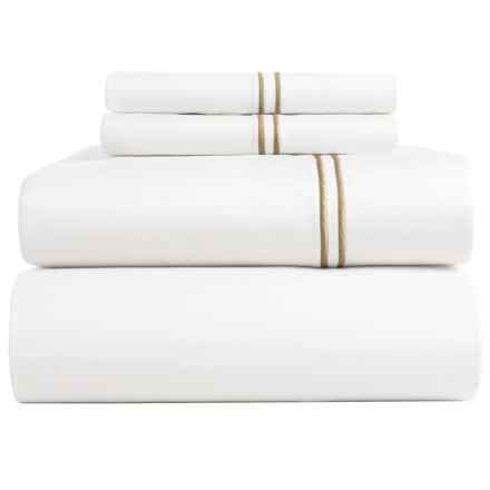 Bambeco Satin Stitch Organic Cotton Sateen Sheet Set - Full, 500 TC in White/Flax - Closeouts