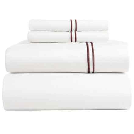 Bambeco Satin Stitch Organic Cotton Sateen Sheet Set - Full, 500 TC in White/Port - Closeouts
