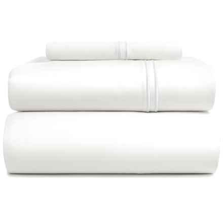 Bambeco Satin Stitch Organic Cotton Sheet Set - Twin, 500 TC in White/White - Closeouts