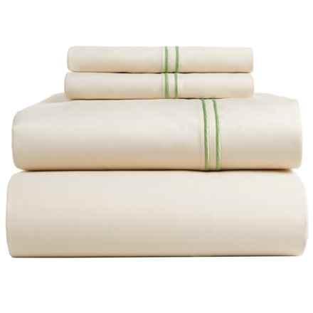 Bambeco Satin Stitch Sateen Organic Cotton Sheet Set - King, 500 TC in Ivory/Aloe - Closeouts
