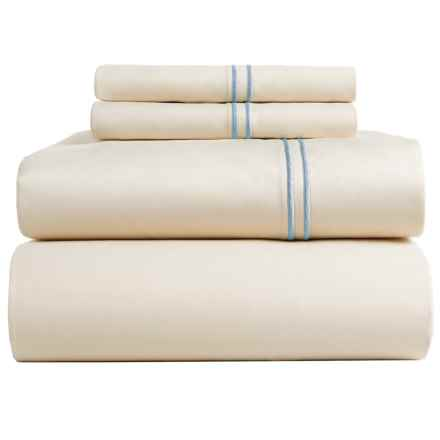 Bambeco Satin Stitch Sateen Organic Cotton Sheet Set - King, 500 TC in Ivory/Blue - Closeouts