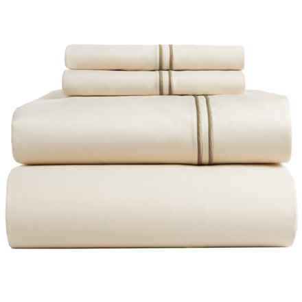 Bambeco Satin Stitch Sateen Organic Cotton Sheet Set - King, 500 TC in Ivory/Flax - Closeouts