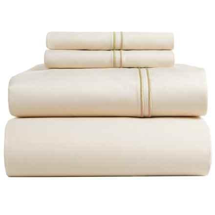 Bambeco Satin Stitch Sateen Organic Cotton Sheet Set - King, 500 TC in Ivory/Ivory - Closeouts
