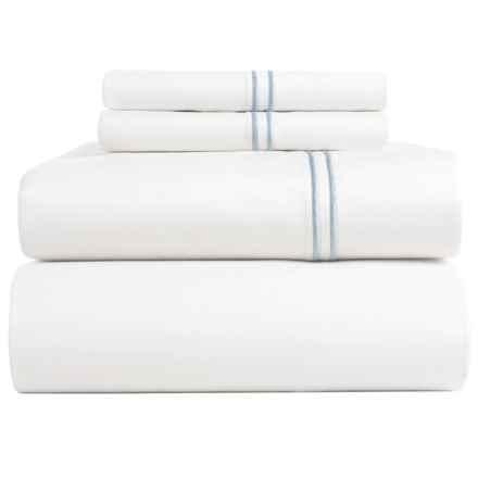 Bambeco Satin Stitch Sateen Organic Cotton Sheet Set - King, 500 TC in White/Blue - Closeouts