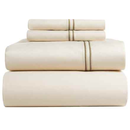 Bambeco Satin Stitch Sateen Organic Cotton Sheet Set - Queen, 500 TC in Ivory/Flax - Closeouts
