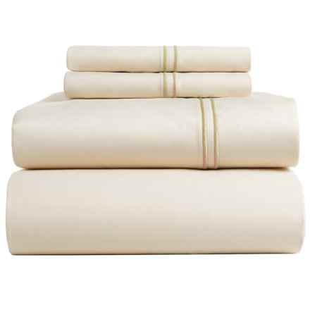 Bambeco Satin Stitch Sateen Organic Cotton Sheet Set - Queen, 500 TC in Ivory/Ivory - Closeouts