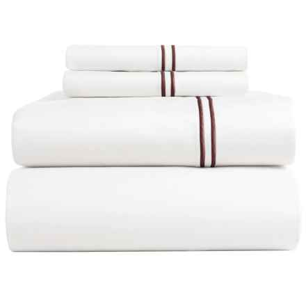 Bambeco Satin Stitch Sateen Organic Cotton Sheet Set - Queen, 500 TC in White/Port - Closeouts