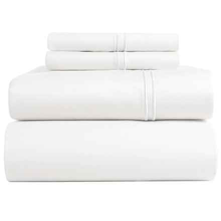 Bambeco Satin Stitch Sateen Organic Cotton Sheet Set - Queen, 500 TC in White/White - Closeouts
