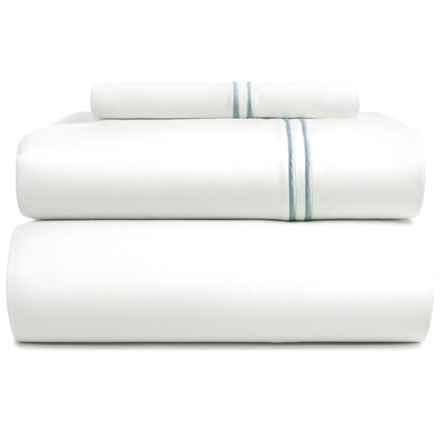 Bambeco Satin Stitch Sheet Set - Twin, 500 TC Organic Cotton in White/Blue - Closeouts