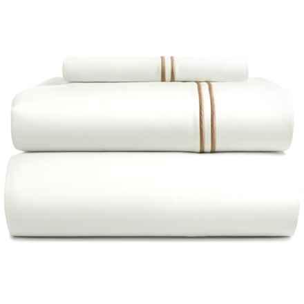 Bambeco Satin Stitch Sheet Set - Twin, 500 TC Organic Cotton in White/Flax - Closeouts