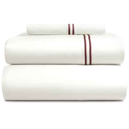 Bambeco Satin Stitch Sheet Set - Twin, 500 TC Organic Cotton in White/Port - Closeouts
