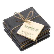 Bambeco Slate Square Coasters - Set of 4 in Slate - Overstock