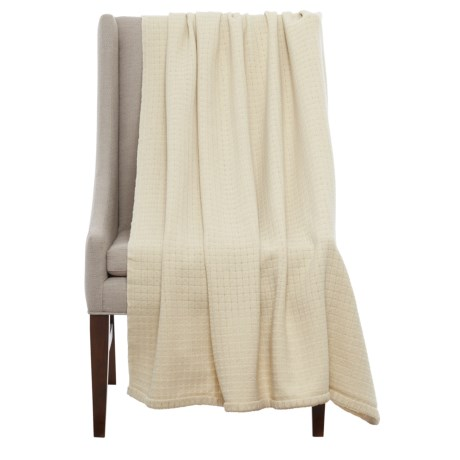 """Bambeco Solid Box Weave Wool Throw Blanket - 51x71"""" in Pearl"""