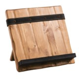 Bambeco Tablet and Cookbook Stand - Reclaimed Wood, Salvaged Leather
