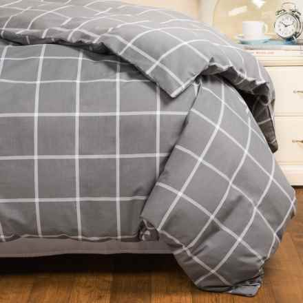 Bambeco Windowpane Duvet Cover - Full-Queen, Organic Cotton in Grey Houndstooth - Closeouts