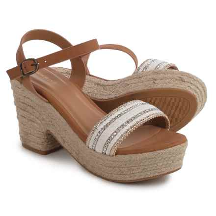 Bamboo Aspen Platform Espadrille Sandals (For Women) in White - Closeouts