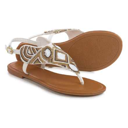 Bamboo Beaded Sandals (For Women) in White - Closeouts