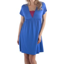 Bamboo Dreams® by Yala Bradshaw Dress - Gathered Empire Waist, Short Sleeve (For Women) in Pacific