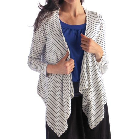 Bamboo Dreams® by Yala Laurel Wrap - Long Sleeve (For Women) in Riviera/Natural