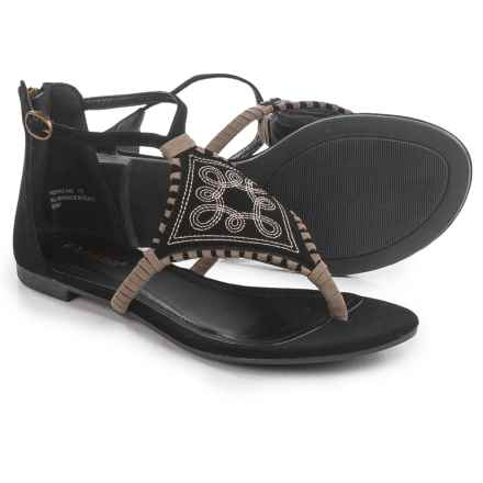 Bamboo Embroidered T-Strap Flatbed Sandals (For Women) in Black - Closeouts