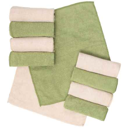 Bamboo Naturals Microfiber Cleaning Cloths - 10-Pack in Green/Beige - Closeouts