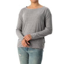 Banded-Hem Jersey Shirt - Long Sleeve (For Women) in Grey - Closeouts