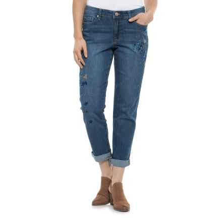 Bandolino Karyn Embroidered Slim Boyfriend Cropped Jeans (For Women) in Santa Clara - Closeouts