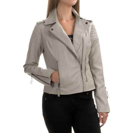 Bar III Motorcycle Jacket - Vegan Leather (For Women) in Fossil - Overstock