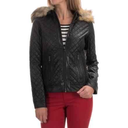 Bar III Quilted Jacket - Vegan Leather (For Women) in Black - Overstock