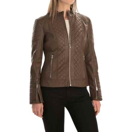 Bar III Quilted Motorcycle Jacket - Vegan Leather (For Women) in Saddle - Overstock
