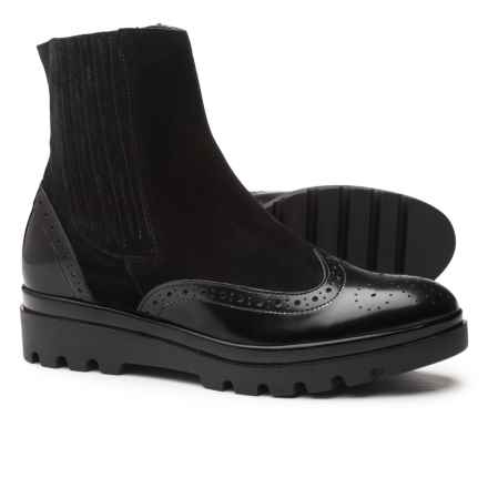 Barbara Barbieri Leather and Suede Wingtip Boots (For Women) Made in Italy in Black - Closeouts