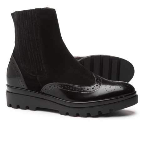 Barbara Barbieri Made in Italy Leather and Suede Wingtip Boots (For Women) in Black