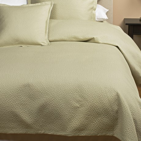 Barbara Barry Cloud Nine Coverlet - Full-Queen, Cotton Matelasse in Aloe