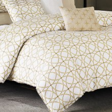 Barbara Barry Corso Sateen Duvet Cover - Queen in White / Gold - Closeouts