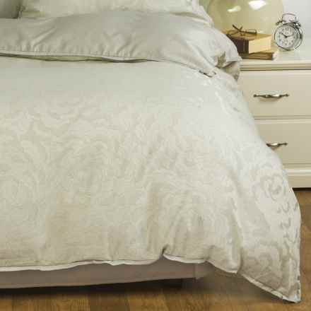 Barbara Barry Dream Petal Garden Duvet Cover - Full-Queen, 300 TC Cotton in Blanc - Closeouts