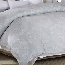 Barbara Barry Lace Crystal Duvet Cover - Full-Queen, 250 TC Cotton Sateen in Frost/Grey - Closeouts
