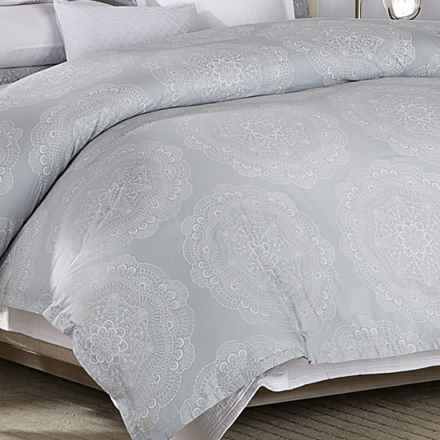 Barbara Barry Lace Crystal Duvet Cover - King, 250 TC Cotton Sateen in Frost/Grey - Closeouts