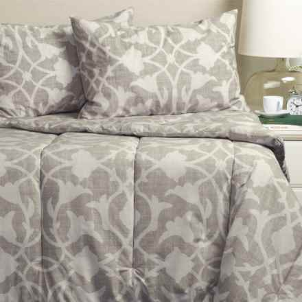 Barbara Barry Poetical Comforter Set - Queen in Silver - Closeouts
