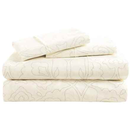 Barbara Barry Poetical Stitch Sheet Set - Queen, Cotton Percale in Silver - Closeouts