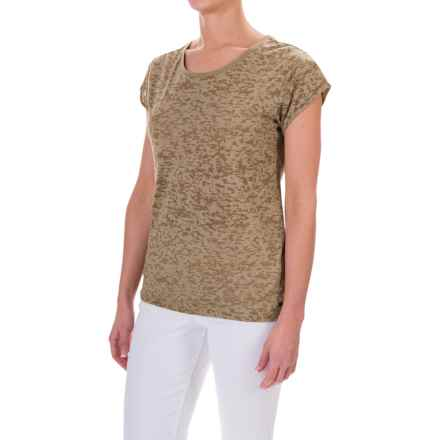 Barbour Abbot Burnout Shirt - Short Sleeve (For Women) in Light Khaki - Closeouts