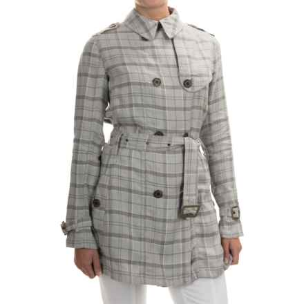 Barbour Alasdiar Double-Breasted Dress Coat (For Women) in Grey Tartan - Closeouts