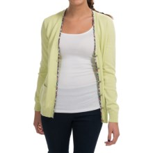 Barbour Alma Pima Cotton Cardigan Sweater - V-Neck (For Women) in Light Green - Closeouts