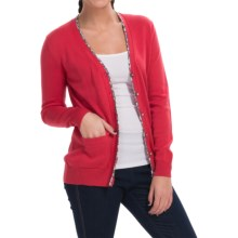 Barbour Alma Pima Cotton Cardigan Sweater - V-Neck (For Women) in Scarlet - Closeouts