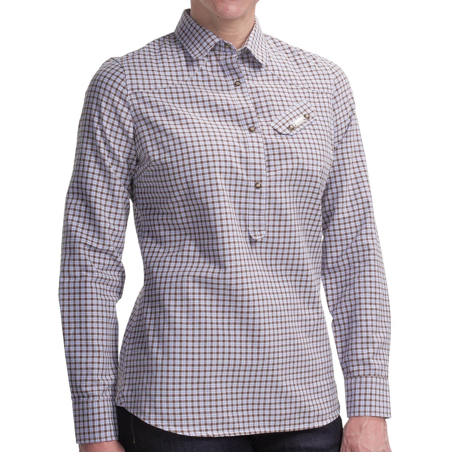 Barbour ancroft cotton check shirt for women save 87 for Ladies brown check shirt